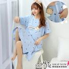 可愛圖樣孕婦哺乳【側掀式】洋裝睡衣 藍色【CUH20720】孕味十足 孕婦裝