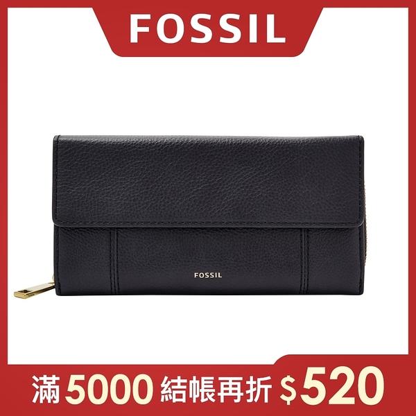 FOSSIL JORI 氣質掀蓋拉鍊長夾-海軍藍 SWL3009406