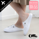 韓國Ollie 韓國空運 嚴選質感皮革 免綁帶 小白鞋 時尚穆勒鞋【F720766】版型偏小/SD韓美鞋
