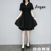 2020夏裝連身裙 黑色裙 大碼女裝時尚寬鬆雪紡連衣裙子 自由角落