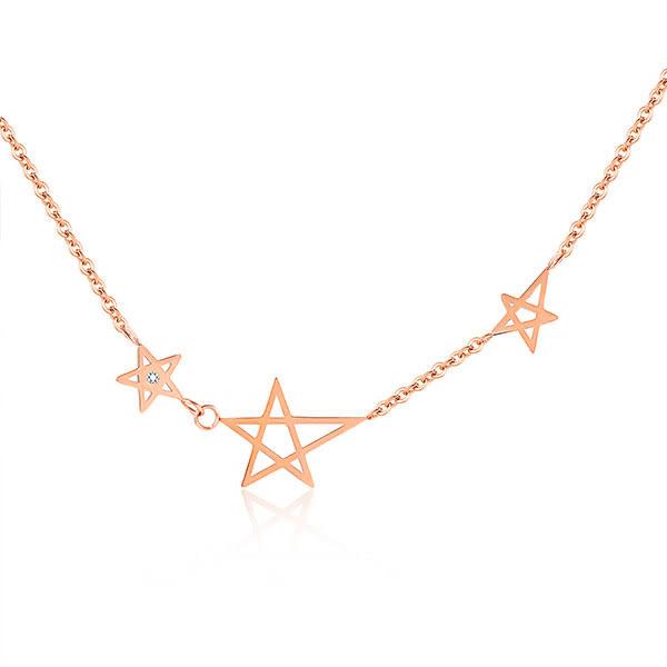 316L鈦鋼項鍊 玫瑰金色 星星造型 女生項鍊  甜美項鍊 送禮物推薦 單條價【AKS1272】Z.MO鈦鋼屋