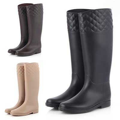 雨鞋雨靴LoVie日韓磨砂面菱形格紋高筒雨鞋雨靴環保雨靴【02S3433】