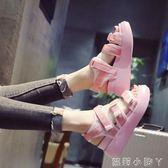 楔型鞋軟妹涼鞋女百搭時尚學生厚底鞋子鬆糕魔術貼女鞋  全館免運
