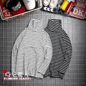 2018秋季情侶高領條紋T恤堆堆領時尚男士寬鬆長袖T恤打底衫潮流 全店88折特惠