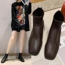 網紅方頭短靴秋季新款韓版百搭靴子平底馬丁靴女英倫風瘦瘦鞋 電購3C