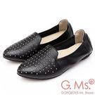 G.Ms. MIT系列-金屬鉚釘牛皮懶人鞋-黑色