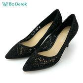 【Bo Derek】雕花彩鑽羊皮高跟鞋-黑