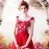 M-天使嫁衣 女神範兒 嫵媚耀眼紅色新娘婚紗禮服結婚敬酒服 1898