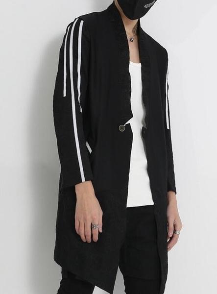 找到自己 MD 韓國 男 街頭 時尚 暗黑 三杠條 花紋壓邊 特色鈕扣 潮人款 薄外套 襯衫外套