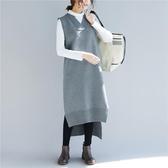 長款不對稱下擺開叉 純色V領毛衣 胖mm秋冬新品 減齡復古針織線衣 降價兩天