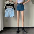 高腰 牛仔短褲女 夏季2021新款 直筒 寬鬆 闊腿褲子 薄款 顯瘦 百搭 熱褲潮