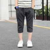 男童褲 童裝中大童男童休閒 褲薄款七分褲棉麻褲子兒童夏季2018新款韓版 芭蕾朵朵