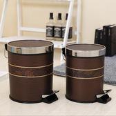 腳踏式垃圾桶家用衛生間大號加厚帶蓋彩色腳踩式翻蓋筒創意帶內筒   初見居家