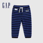 Gap嬰兒 LOGO條紋設計鬆緊腰休閒褲 592875-海軍藍條紋