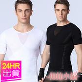 機能運動服 結帳再79折 白/黑M~XL 束腰平腹 彈性排釦塑身短袖運動內衣 壓力貼身 Big-O Sports