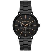 【台南 時代鐘錶 Michael Kors】MK8703 簡約線條三環日期時尚手錶 黑鋼 42mm