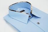 【金‧安德森】經典格紋繞領藍色吸排窄版長袖襯衫