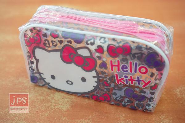 Hello Kitty 透明 大容量 筆袋 愛心