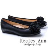 ★2017秋冬★Keeley Ann法式浪漫~質感拼接立體花朵水鑽全真皮平底娃娃鞋(黑色)
