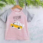 車車貼布條紋棉質短袖上衣(270292)★水娃娃時尚童裝★