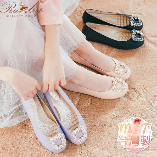鞋子 素色不規則水鑽圓頭平底鞋-Ruby s 露比午茶