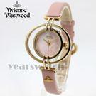 【萬年鐘錶】 Vivienne Westwood  英國 戀愛假期土星環型皮革輕量款  金x粉紅  35mm  VV133PKPK