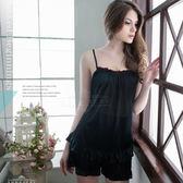 大尺碼睡衣 ~Annabery粉嫩滾邊經典黑上衣短褲組 緞面睡衣 女性衣著 爆款《SV6175》快樂生活網