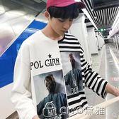 夏季男士短袖t恤寬鬆潮流七分袖bf風半袖5五分袖上衣  ciyo黛雅