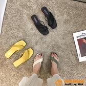 涼拖鞋女外穿粗跟中跟夾腳拖潮拖鞋夏超級品牌【桃子居家】
