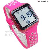 JAGA 捷卡 休閒多功能超大液晶運動電子錶 游泳用 女錶 男錶 學生錶 M1179C-GC(粉灰)