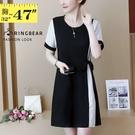 洋裝--氣質亮麗條紋拼接側身綁帶圓領短袖...
