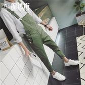 日系文藝復古背帶褲潮流個性男士九分休閒褲青少年小腳工裝褲 魔法街