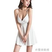 夜店洋裝 新款夜場連衣裙低胸性感衣服時尚夜店女裝吊帶裙顯瘦白色裙子 快速出貨