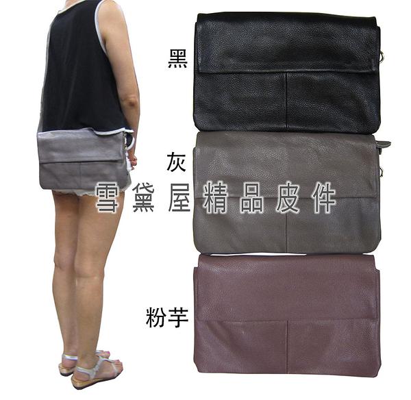 ~雪黛屋~ITALI DUCK 手拿肩斜背小容量台灣製扁包100%進口軟質牛皮革+棉質內裡布ID7041