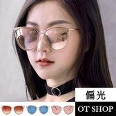 OT SHOP太陽眼鏡‧貓框果凍框金屬框炫彩高品質偏光墨鏡‧粉反光/藍反光/橘紅反光‧現貨‧U97