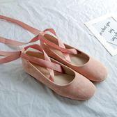 【雙12】全館大促復古新款溫柔仙女春秋交叉綁帶絨面圓頭芭蕾舞平底學生女單鞋