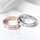 情侶戒指 網紅時尚chic學生戒指女鈦鋼玫瑰金羅馬數字食指環個性情侶對戒男