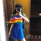 超火cec彩虹條紋T恤女短袖夏季新款韓版寬松bf一字肩上衣超仙