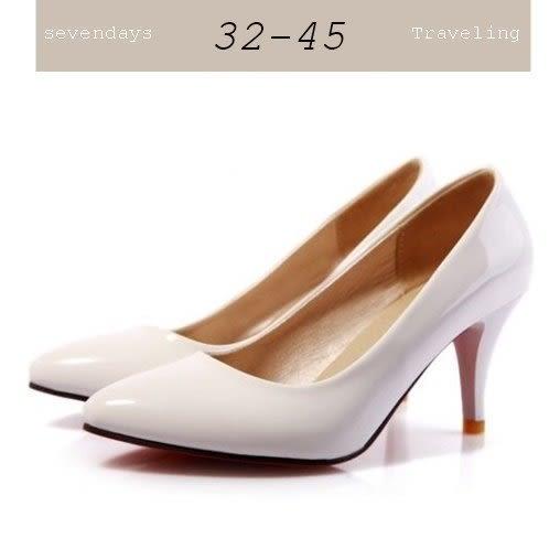 大尺碼女鞋小尺碼女鞋漆皮尖頭素面高跟鞋中跟鞋低跟鞋女鞋婚鞋工作鞋白色(32-45)