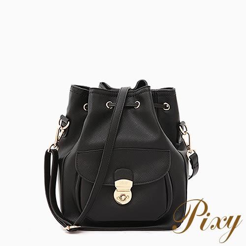 Pixy 硬派甜美後背包桶包 優雅黑