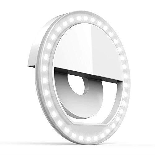 【美國代購】Auxiwa Clip on Selfie Ring Light 36個LED 用於智能手機相機圓形 白色
