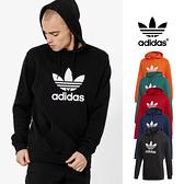 【GT】Adidas Originals 黑藍紅綠橘 連帽T恤 純棉 運動 休閒 長袖 上衣 帽衫 愛迪達 三葉草 基本款 Logo