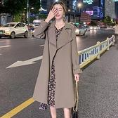 中長款外套 風衣女中長款小個子秋季裝新款正韓寬鬆氣質今年流行外套咖色-Ballet朵朵