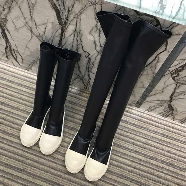 膝上靴 靴子女新款瘦腳長筒靴女過膝唐嫣同款厚底平底ro中筒靴女 降價兩天