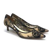 【台中米蘭站】展示品 JIMMY CHOO 經典蕾絲透膚高跟鞋(黑)
