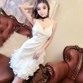 新款裙子女裝 小香風氣質吊帶 V領露背白色短禮服 洋裝 連衣裙