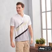 【JEEP】HiCool吸濕排汗斜身拼接短袖POLO(白色)
