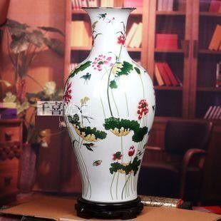 景德鎮陶瓷器粉彩魚尾瓶清荷荷塘月色