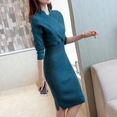 毛衣裙洋裝秋冬季新款韓版女裝針織衫中長款套頭毛衣洋裝修身打底衫過膝潮   color shop