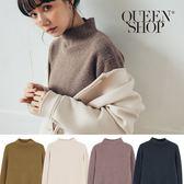 Queen Shop【01070908 】簡約純色素面高領長袖毛衣 四色售*現+預*